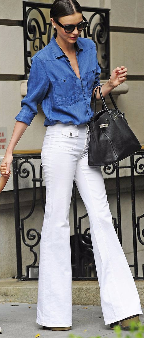 white jeans and denim shirt