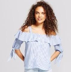 mossimo blue white pinstripe shirt