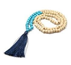BALIBALI 8MM Wood Mala Bead Necklace Long Fashion Multicolor Tassel Charms Chain Necklace Handmade Beaded Pendant Necklace for Women Men - Google Search